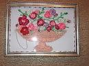 Автор.  Размер 245х330 мм.  Цветы вышиты лентами разного диаметра и цвета, украшены бисером и бусинами.