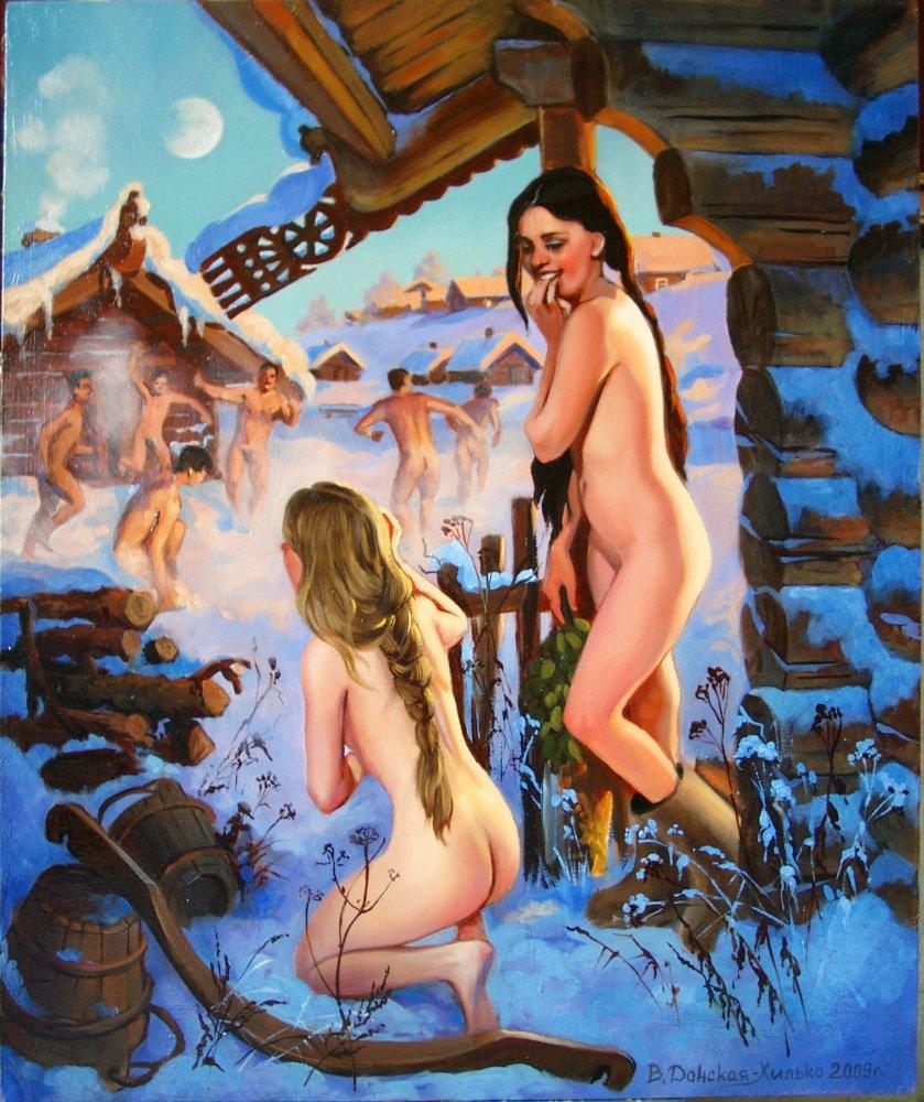 Ню. современное искусство. русская баня. Метки. зима. обнажённые