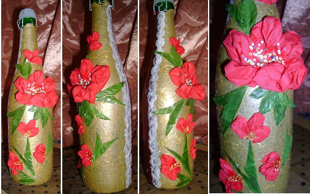 Декорирование бутылок к новому году своими руками