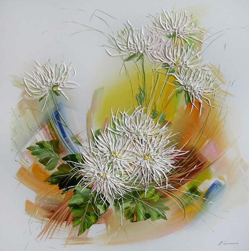 Белые хризантемы в живописи.