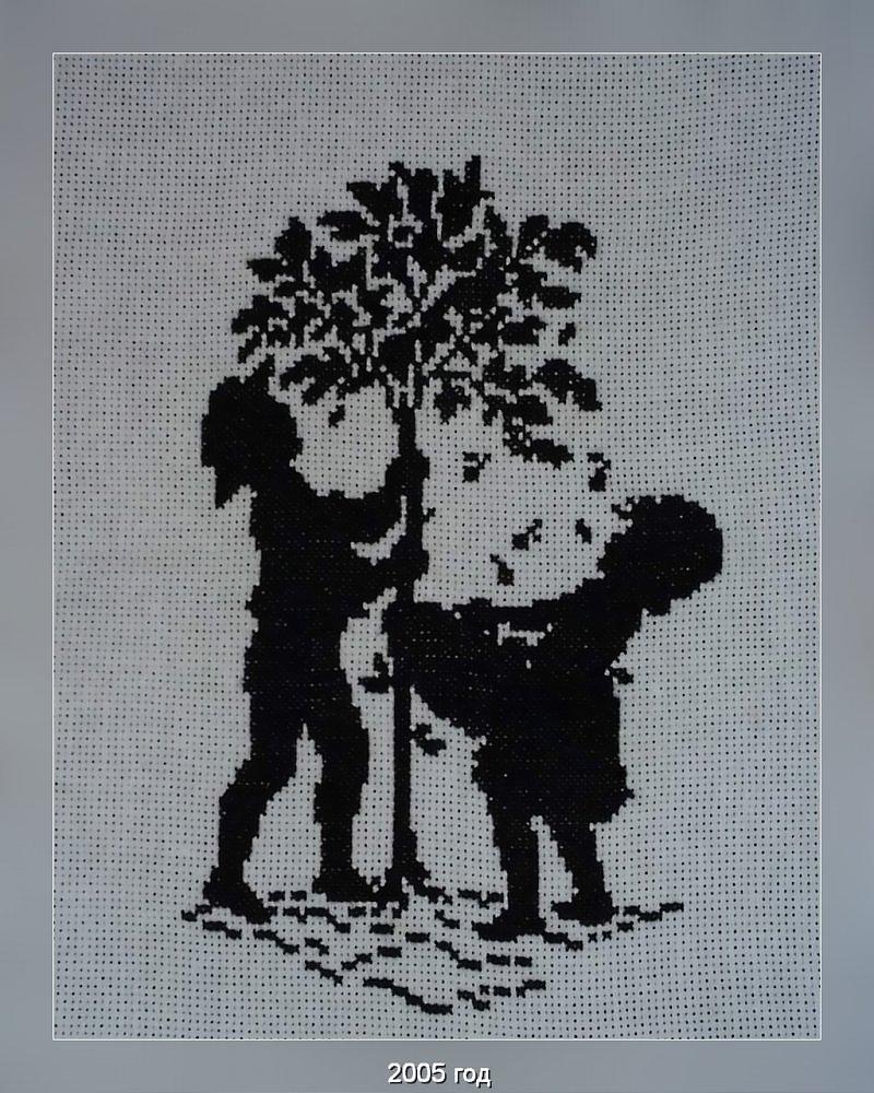 Черно белая вышивка для детей