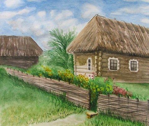 Пейзаж деревни поэтапно