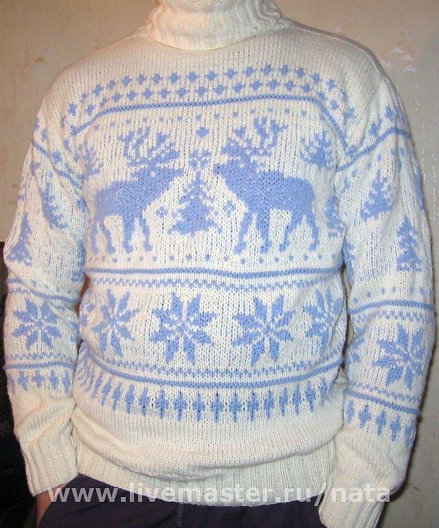 Как связать свитер с оленями мужской с фото