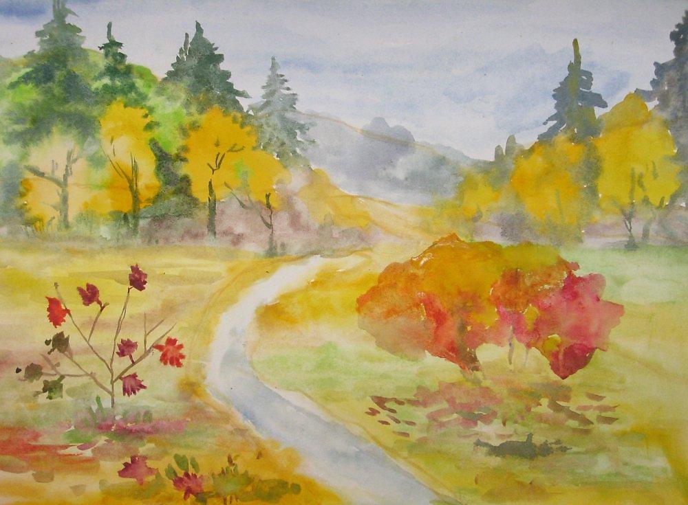 рисунки осеннего пейзажа карандашом для начинающих