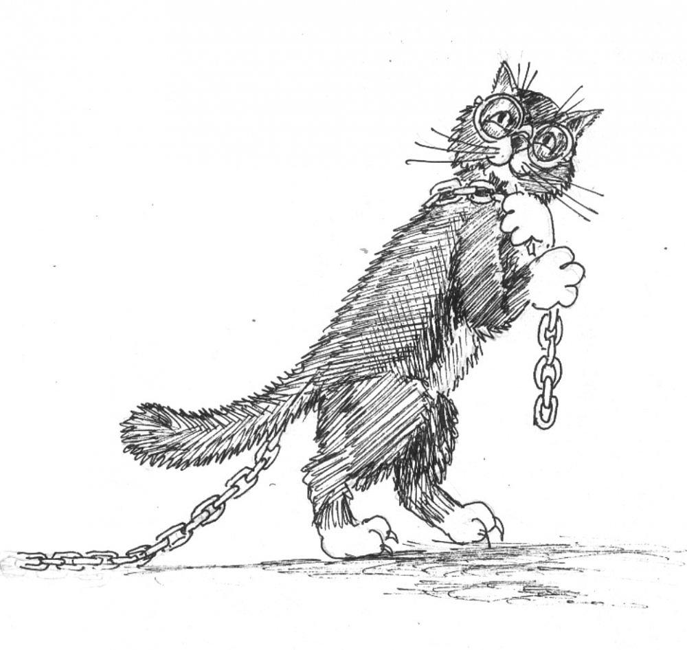 детский рисунок ученого кота