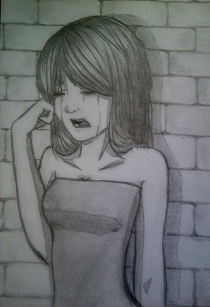 Как нарисовать девушку которая плачет