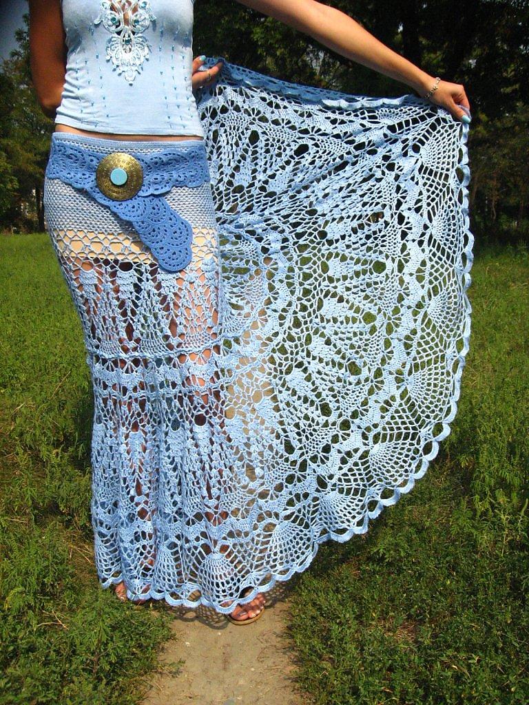 Вязание пояс для юбки 30