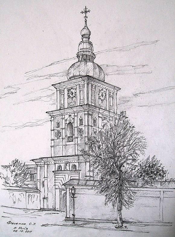 Архитектура в рисунках простым карандашом