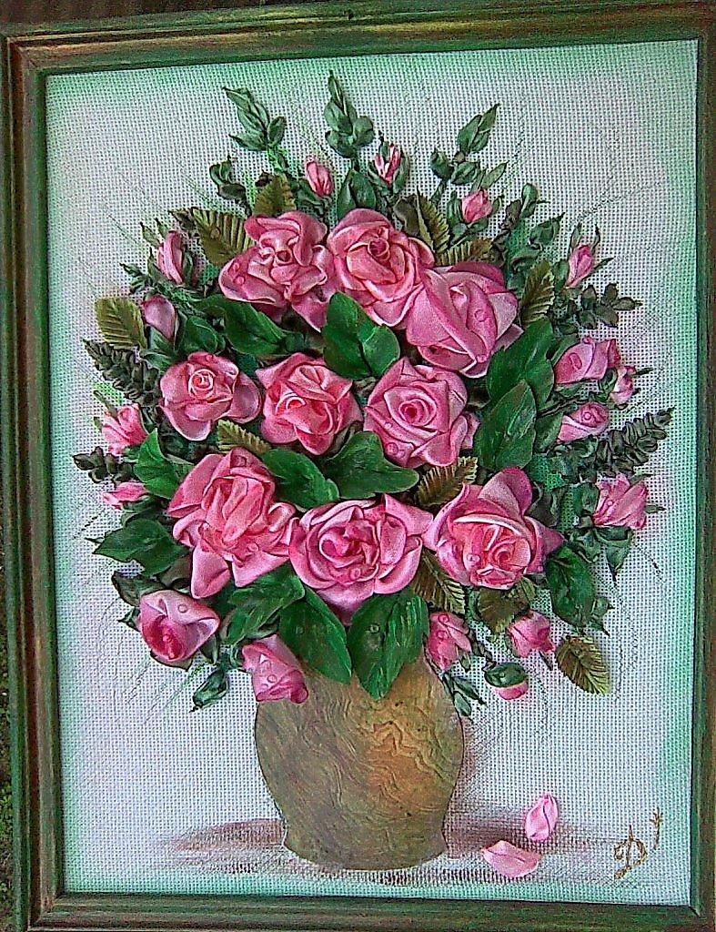 Вышивка лентами розы самые шикарные картины 624