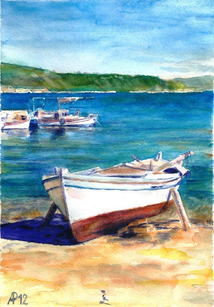 картина акварелью с лодками