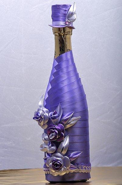 Декор бутылок своими руками из лент
