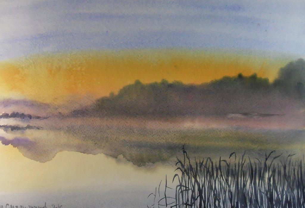Рисуем акварелью туман
