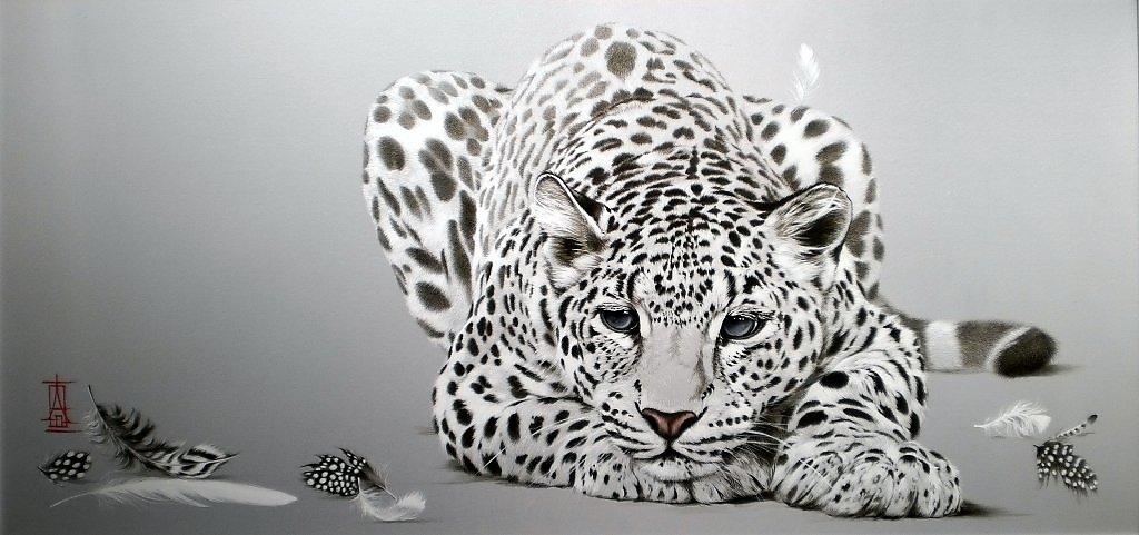 "Схема вышивки  ""белый леопард "" ."