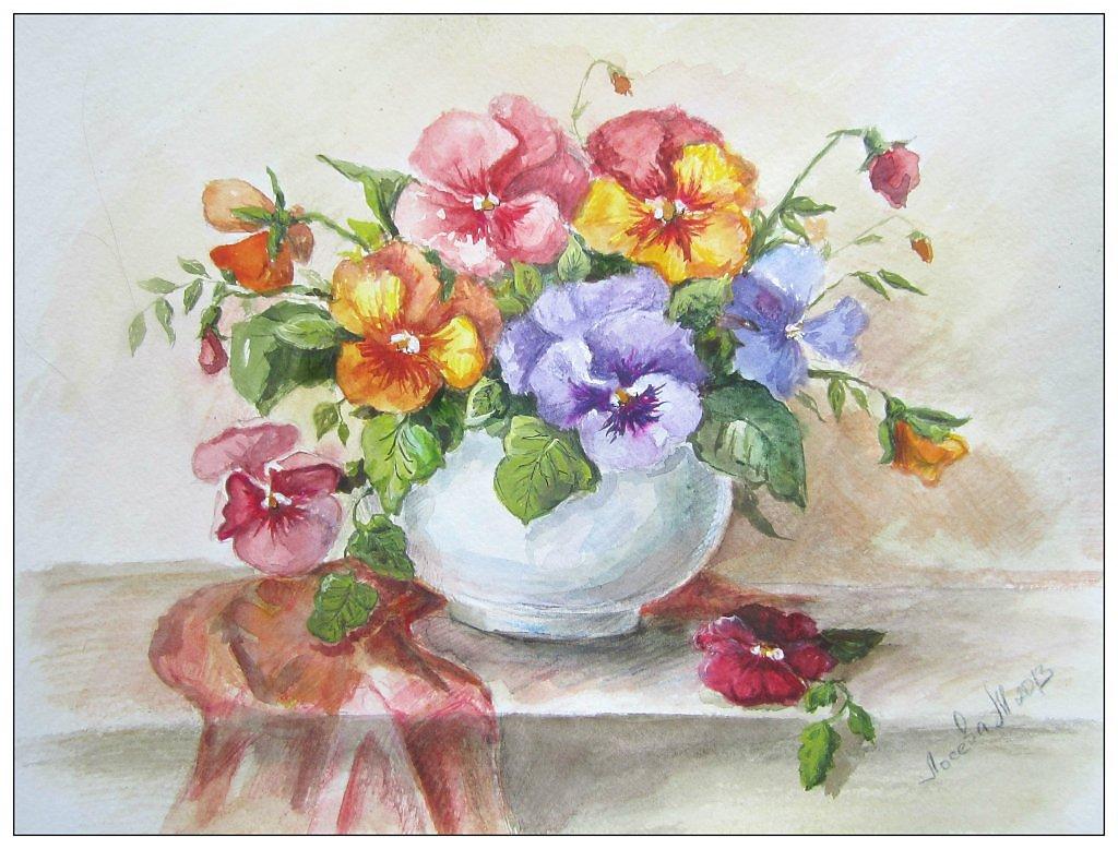 Акварель натюрморт с цветами фото и