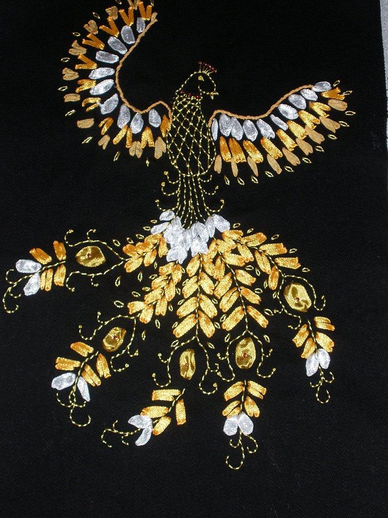 Схема вышивки лентами птиц 80