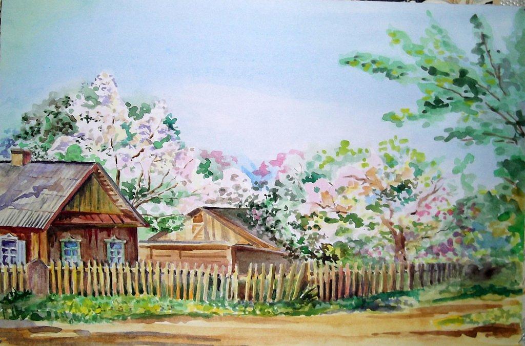 Рисуем гуашью деревня