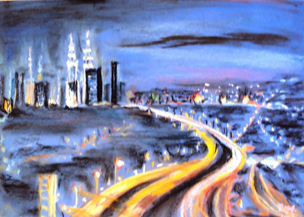 Рисунки городов пастелью