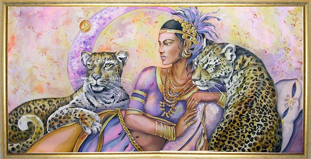 Алмазная вышивка клеопатра с леопардами 48