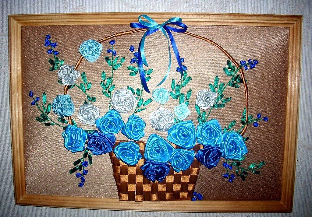 Картина цветы из атласных лент своими руками 83