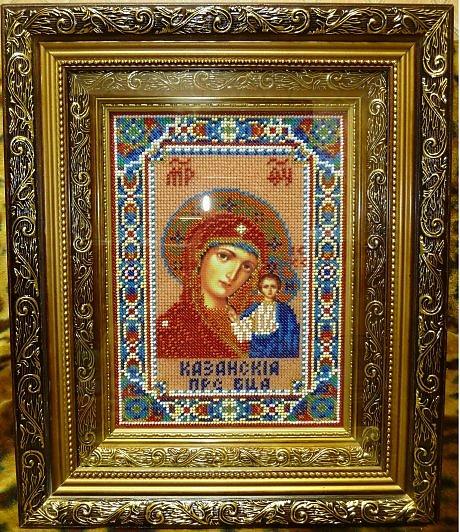 Богородица казанская с вышивкой
