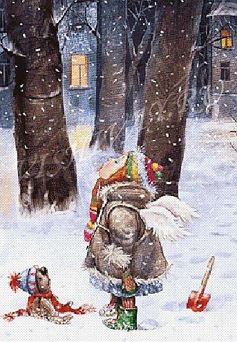ловит ртом снег