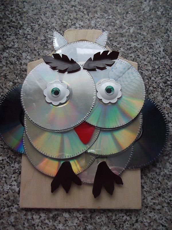 Сова из сд дисков пошаговое фото