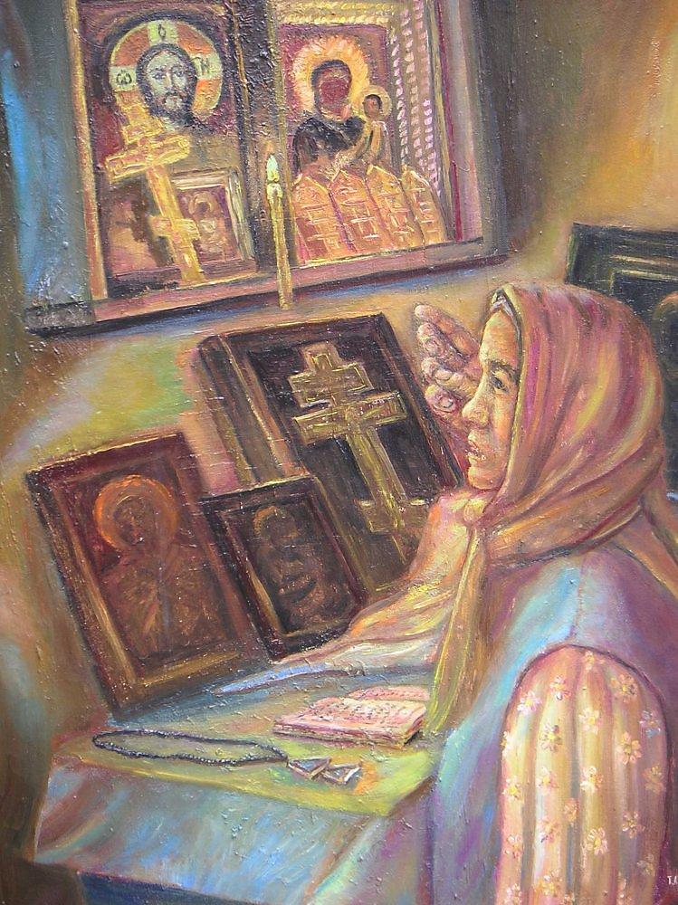Рисунок молитва перед иконой, открытка днем рождения