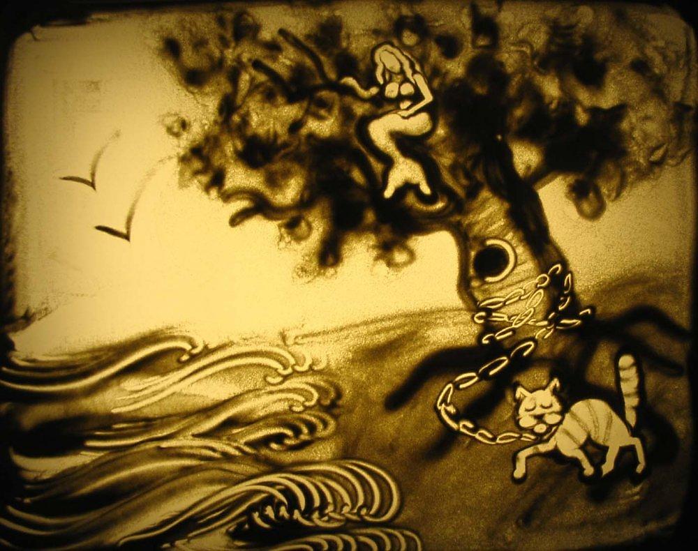 Рисунки песочная анимация, дурачок