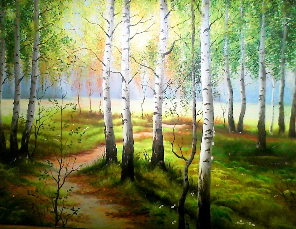 рисуйте рисунок лесная поляна красками дровосек