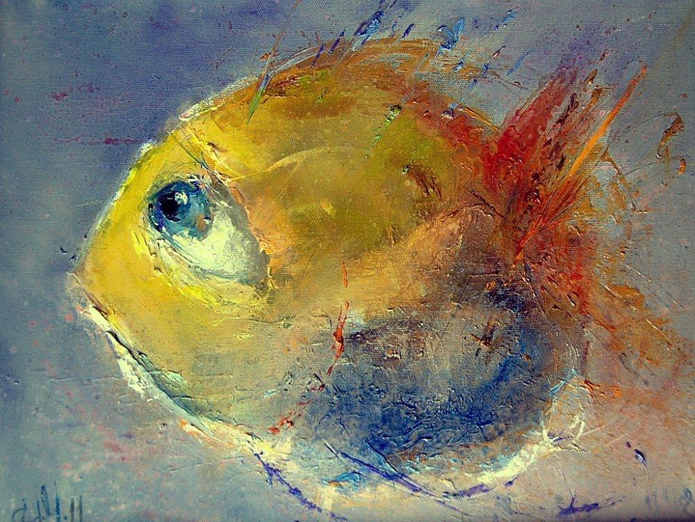 картина рыбы маслом расходные материалы подойдут