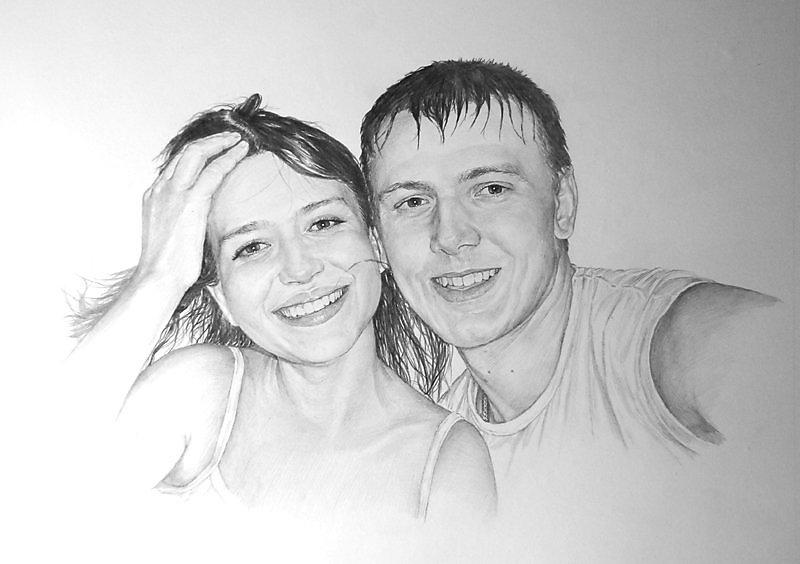 как нарисовать портрет пары по фото вновь