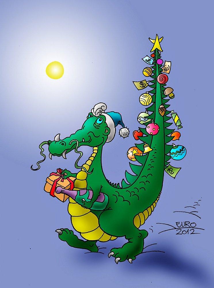 Новогодние открытки дракон