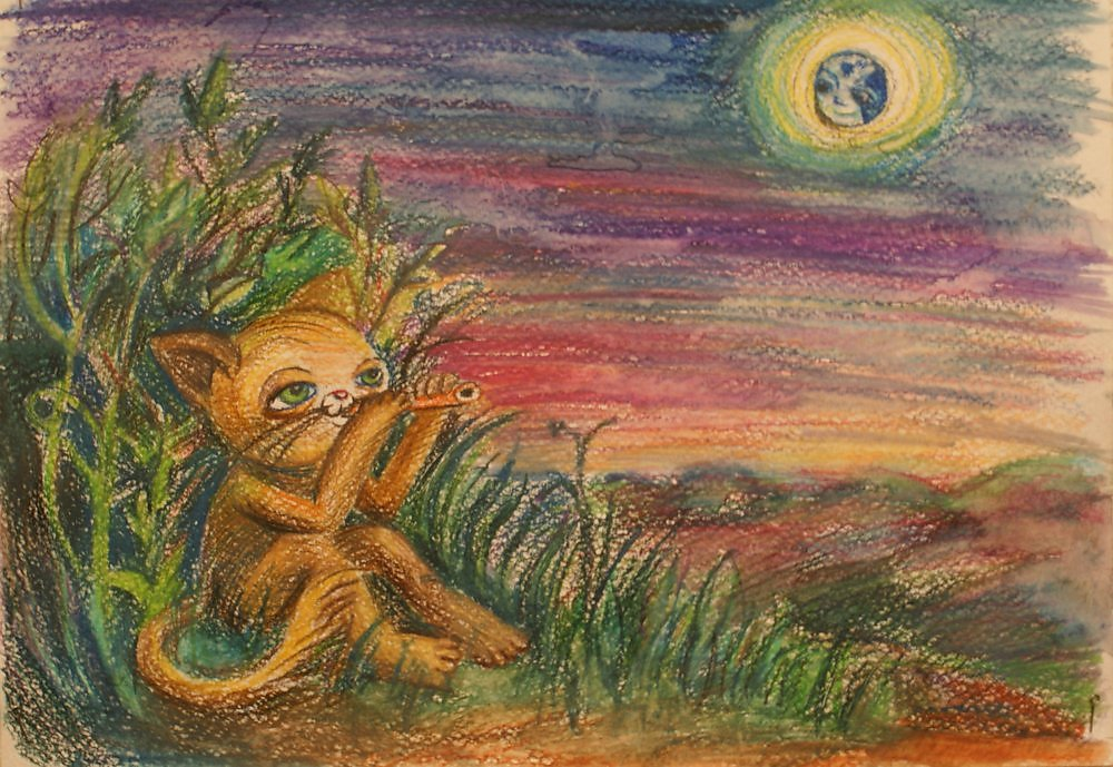 кот с флейтой картинки рекрасное