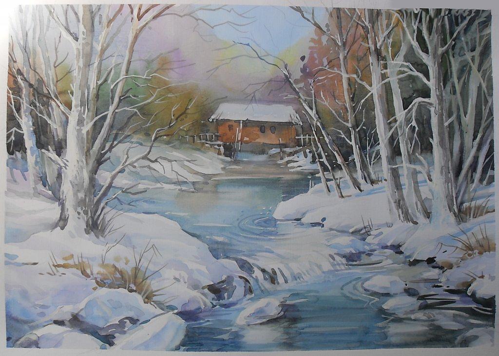 Река зимой картинка для детей