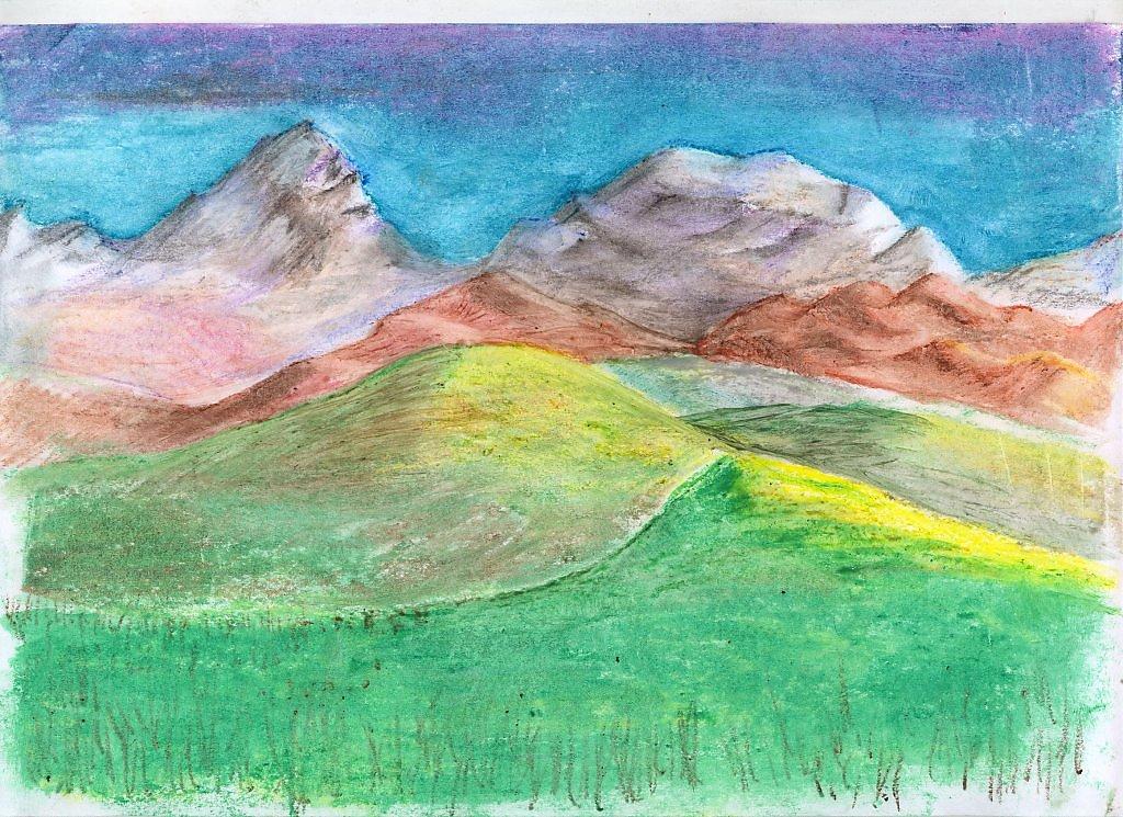 водоема картинки гор как нарисовать цветными кальяна