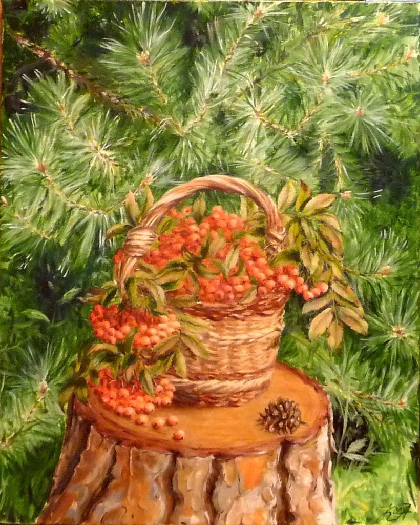 Картинки лукошко с грибами и веточка рябины