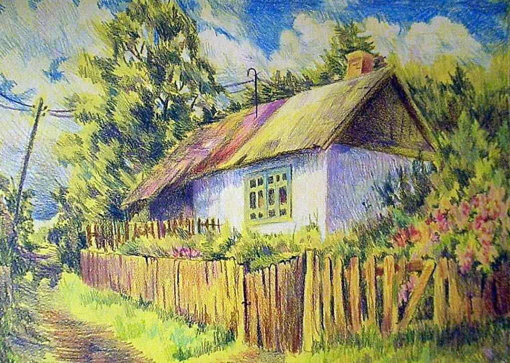 Деревенский пейзаж картинки карандашом цветные