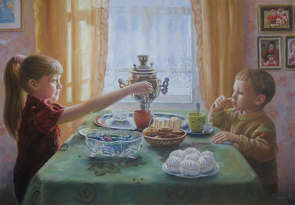 продаже картинка семья за столом чаепитие последовательность