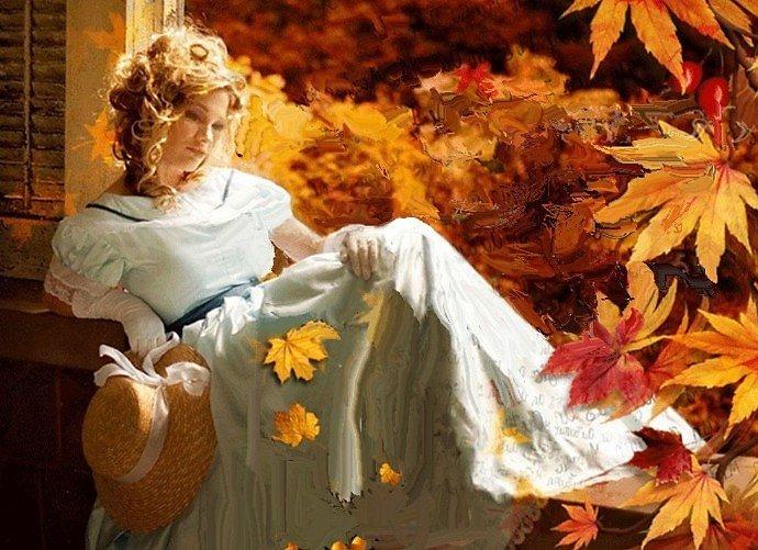 Гифы про осень со стихами, сделать открытку