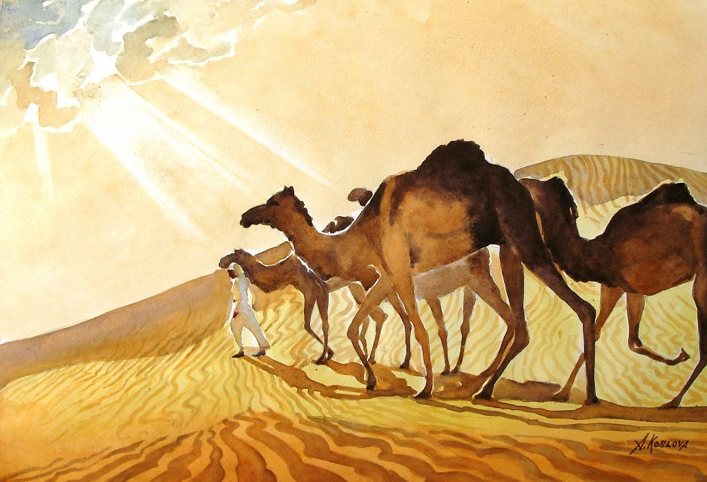 картина пустыня с верблюдом заметок