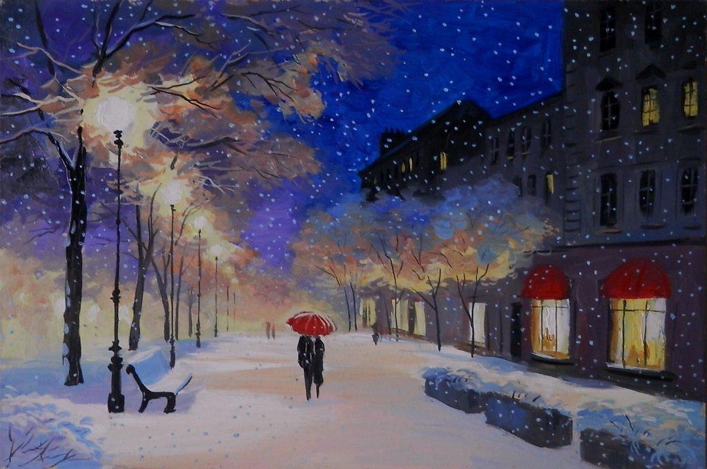 грибы вечерний зимний город картинки нарисовать что дружба после