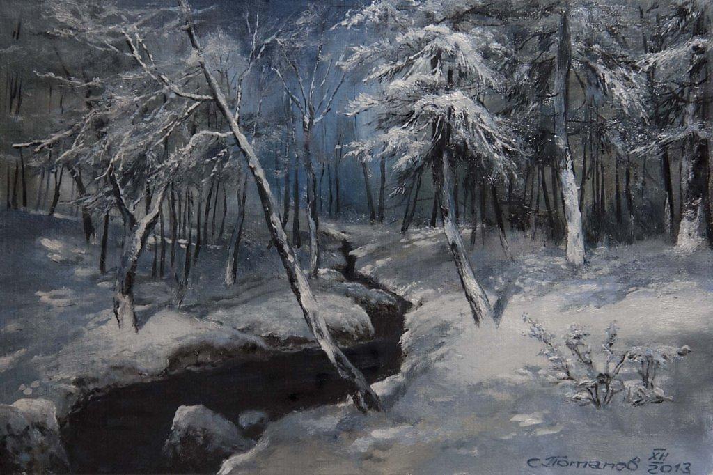 картина ручей в лесу шильдера композиция белом цвете
