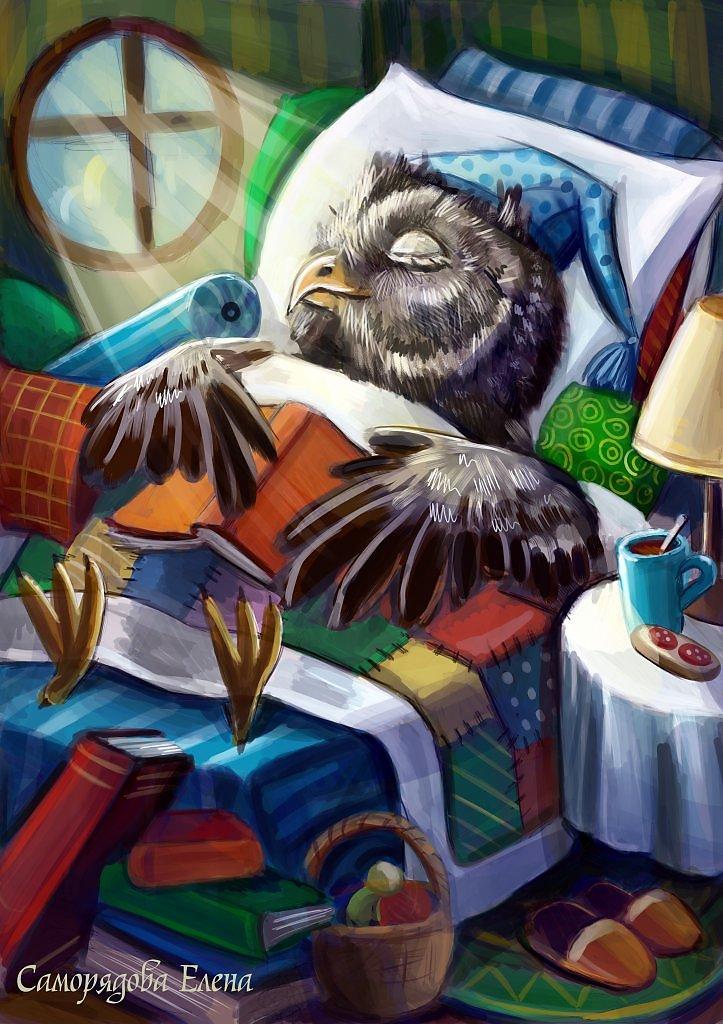 Картинка сова спит для детей