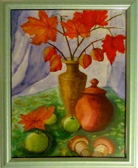 расскажет, листья в вазе рисунок гуашью также