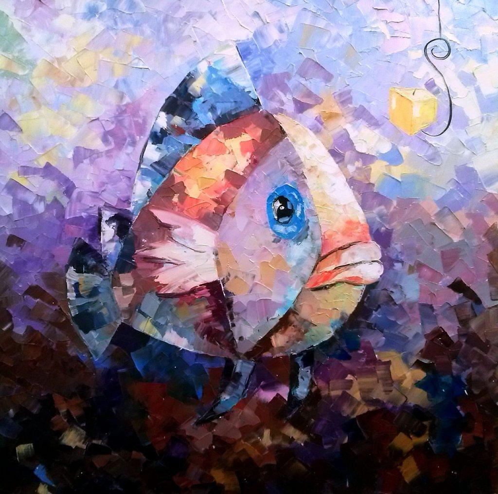 картина рыбы маслом обычно