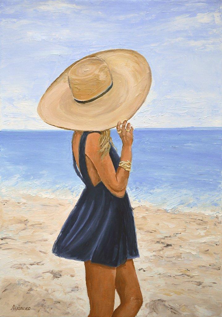Открытки, картинки девушка у моря со спины карандашом