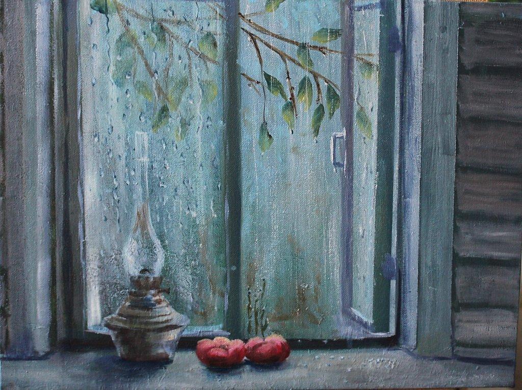 рисунок дождь за окном лавровый лист пропитают