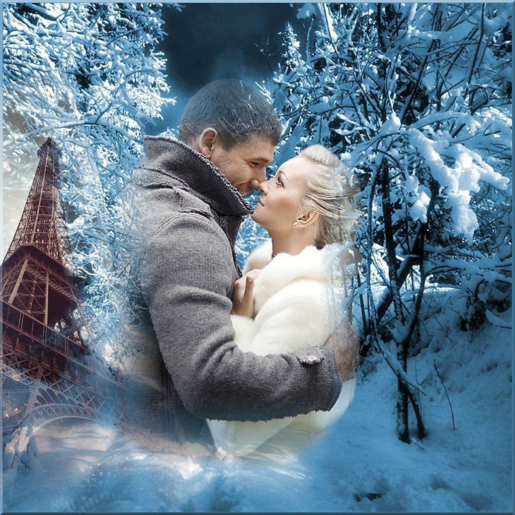 Открытки он и она и снег