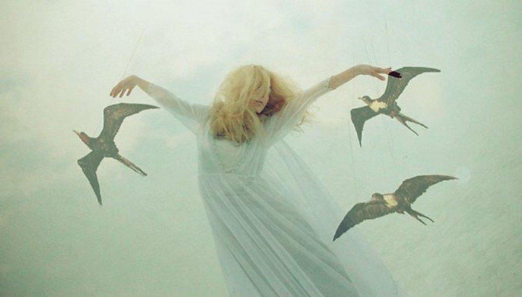 это картинка человек летит на птице этом хризантемы
