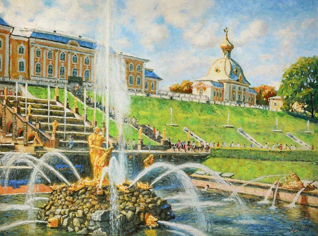 Детские рисунки фонтанов петергофа